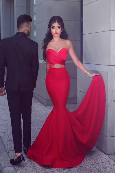 Sexy Sweetheart mermaid Satin Prom Dress Elegant Long Red Evening Dress PD081