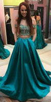 Sweetheart Off Shoulder 2 Pieces Prom Dress wit Appliques Custom Made Satin Appliques Graduation Party Dress Fashion Two Pieces School Dance Dress Pageant Dress for Girls PD600