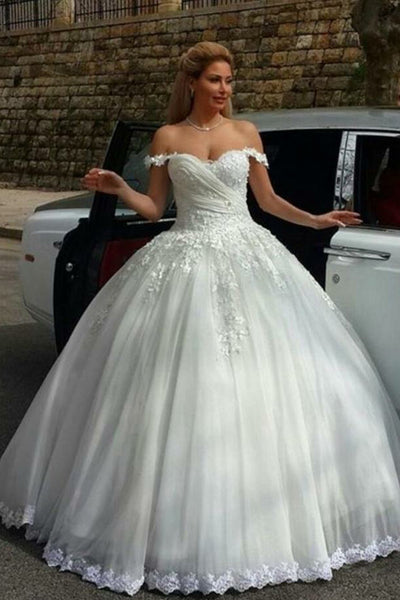 Sweetheart Appliques Wedding Ball Gowns with Off Shoulder Straps Custom Made Fashion Bridal Wedding Dresses WD005