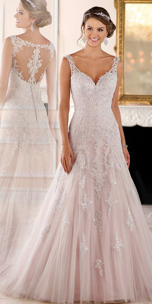 Sweetheart Appliques Tulle Wedding Dress with See Through Back Custom Made Fashion Bridal Wedding Gowns WD007