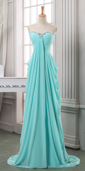 Sweethear Chiffon Long Prom Dress with Beadings Custom Made Long Ice Blue Evening Gowns Fashion Long Beaded School Dance Dresses PD694