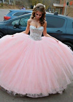 Sweetheart Beaded Long Tulle Quinceanera Dress 2019 Custom Made Tulle Beadings Prom Gowns Fashion Long Graduation Party Dress Beaded School Dance Dress Pageant Dress for Girls QD003