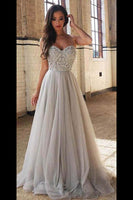 Sweetheart Beaded Tulle Prom Dress 2019 Beadings A-Line Evening Party Dress Fashion Long School Dance Dress PD475