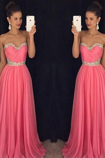 Fashion Sweetheart Chiffon Long Prom Dresses with Beadings Custom Made Wedding Party Dress PD246