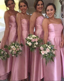 Sweetheart Satin High Low Bridesmaid Dress 2019 Custom Made Srapless Wedding Party Dresses BD061