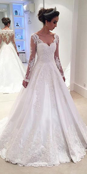Sweetheart Appliques Bridal Wedding Dress with Full Sleeves Custom Made Fashion Long A-Line Bridal Gowns WD008