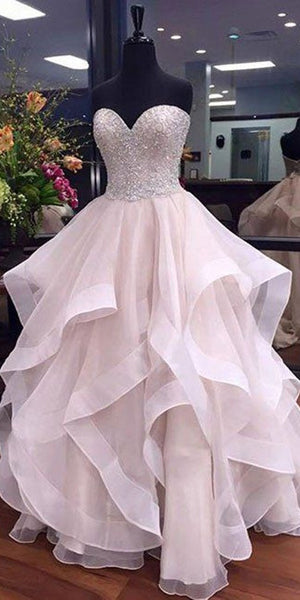 Sweetheart Beaded Long Quinceanera Dress 2019 Custom Made Tulle Beadings Sweet 16th Dress Fashion Long Graduation Party Dress Beaded School Dance Dress Pageant Dress for Girls QD007