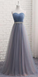 Simple Sweetheart Long Bridesmaid Dress with Beaded Waist Custom Made Fahion Tulle Beadings Wedding Party Dresses BD089