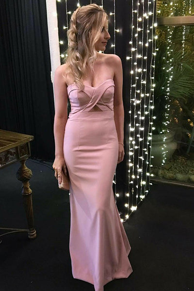 Fashion Sweetheart Mermaid Satin Prom Dress Custom Made Long Pink Formal Evening Gowns PD306