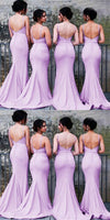 Sweetheart Long Mermaid Bridesmaid Dress with Straps Custom Made Fashion Long Wedding Party Dresses BD116