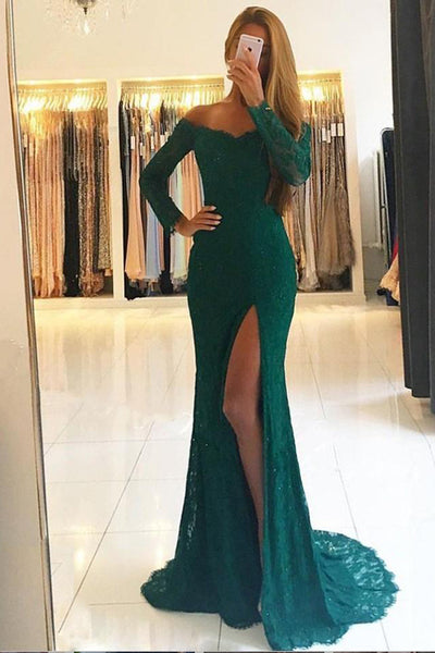 Sweetheart Dark Green Lace Mermaid Prom Dress with Off Shoulder Full Sleeves Custom Made Fashion Long Side Slit Evening Gowns PD344
