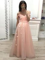 Sweetheart Long Prom Dress with Off Shoulder Straps Custom Made Pink Graduation Party Dress Fashion Floor Length School Dance Dress Pageant Dress for Girls PD642