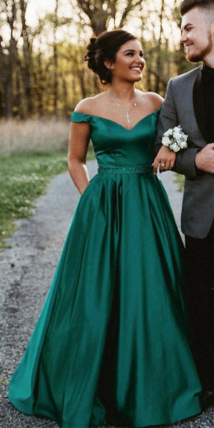 Sweetheart Off Shoulder Long Prom Dress with Beaded Waist Custom Made Long Satin Evening Gowns Fashion Long School Dance Dresses PD696