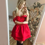 Red Off Shoulder Short Prom Dress Custom Made Short Sweetheart Homecoming Dress Fashion Short School Dance Dress PDS037