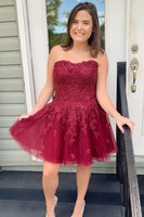 Strapless Plus Size Short Appliques Homecoming Dress Custom Made Cute Short Cocktail Dress Fashion Short Tulle School Dance Dresses Short Women's Fashion Dresses HD158