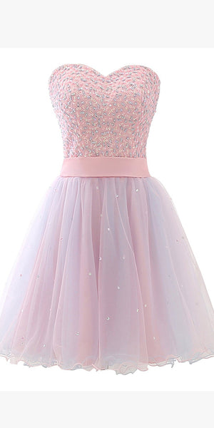 Sweetheart Short Beaded Tulle Homecoming Dress Custom Made Cute Cocktail Dress Fashion Short Sequined School Dance Dresses Short Women's Fashion Dresses HD198