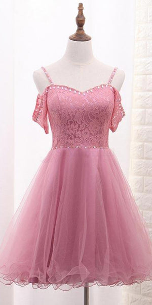 Sweetheart Short Tulle Lace Homecoming Dress with Straps Custom Made Cute Short Cocktail Dress Fashion Short School Dance Dresses Short Women's Fashion Dresses HD183