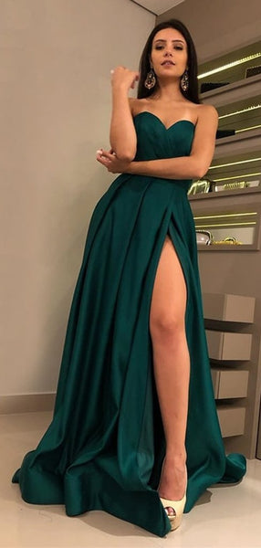 Sweetheart Dark Green Prom Dresses with Side Slit Custom Made Satin Evening Party Dress Fashion Long School Dance Dress Pageant Dress for Girls PD678