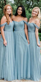 Simple Long Sweetheart Tulle Bridesmaid Dress with Off Shoulder Straps Custom Made Floor Length Wedding Party Dresses BD068