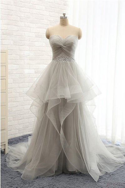 Sweehteart Tulle A-Line Prom Dress with Beaded Waist Custom Made Fashion Long Evening Party Dresses PD383