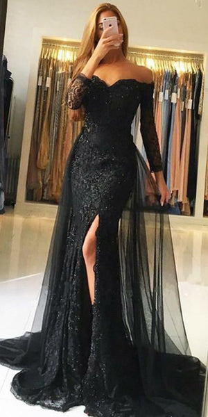 Sweetheart Full Sleeves Tulle Lace Prom Dress Custom Made Mermaid Black Long Evening Gowns Fashion Side Slit School Dance Dresses PD530