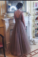 Custom Made Beaded Tulle Long Prom Dress Fashion Beadings A-Line Evening Party Gowns PD337