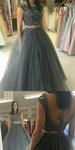 2 Pieces Beaded Long Prom Dress Custom Made Long Graduation Party Dress Fashion Long Tulle Beadings School Dance Dress Women's Pagent Dresses PD884