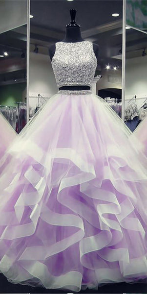 Sparkly Beaded Long Two Pieces Quinceanera Dress 2019 Custom Made Tulle Beadings Sweet 16th Dress Fashion Long 2 Pieces Graduation Party Dress Beaded School Dance Dress Pageant Dress for Girls QD006