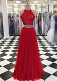Tulle Lace Long 2 Pieces Prom Dress with Beaded Waist Custom Made Long Two pieces Graduation Party Dress Fashion Long School Dance Dress PD789