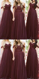 Sweetheart Tulle Long Bridesmaid Dress with Off Shoulder Straps Custom Made Fashion Long Wedding Party Dresses BD098
