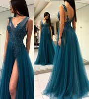 Sexy Side Slit Beaded Tulle Prom Dresses with Appliques Custom Made Fashion Long Evening Gowns PD242