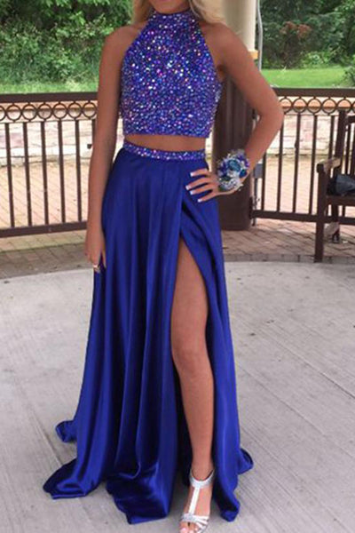 2 Pieces High-Neck Beaded Satin Prom Dress Sexy High Side Split Evening Dress PD067