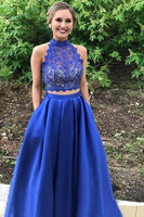 Custom Made 2 Pieces Royal Blue Lace Long Prom Dress 2019 Fashion Long Two Piece Homecoming Dress PD190