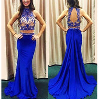 Cuatom Made Two Piece Beaded Chiffon Prom Dress Fashion Royal Beadings Long Homecoming Dress PD196