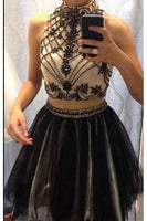 High Neck Open Back Homecoming Dress Black Tulle Beadings Short Party Dress HD005