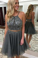 Sexy Two Piece Backless Beaded Chiffon Homecoming Dress Short 2 Pieces Gratuation Party Dress HD033