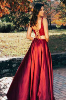 Unique 2 Pieces Side Slit Satin Lace Prom Dress Custom Made Fashion Two Pieces Long Evening Party Dress PD353