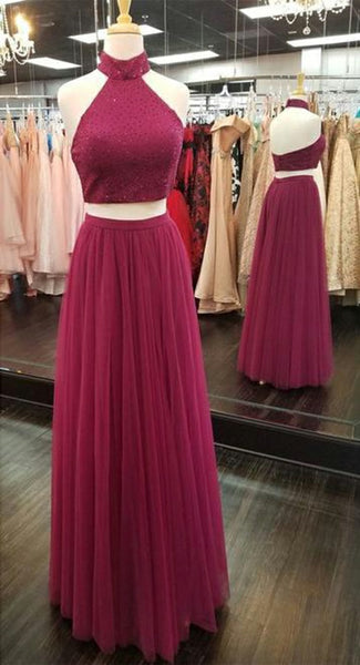 Burgundy Halter Beaded 2 Pieces Prom Dress Custom Made Long Evening Dress Fashion Tulle Beadings Graduation Party Dresses PD449