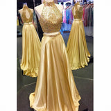 Gold Beaded Long 2 Pieces Prom Dress 2019 Custom Made High Neck A-Line Evening Party Dress Fashion Beadings School Dance Dress PD496