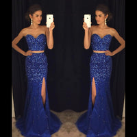 Sparkly Beaded Two Pieces Long Royal Blue Prom Dress Custom Made Sweetheart Side Slit Evening Gowns PD280