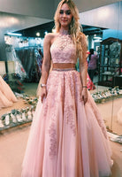Fashion Two Piece Appliques Long Prom Dress Custom Made 2 Pieces Graduation Party Dress PD174