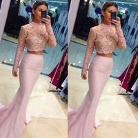 Sexy Mermaid 2 Pieces Satin Prom Dress with Beadings Custom Made Fashion Long Homecoming Dress PD286