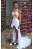 Sexy High Side Slit Chiffon Prom Dresses with Beads Custom Made Fashion Long Prom Party Gowns PD243
