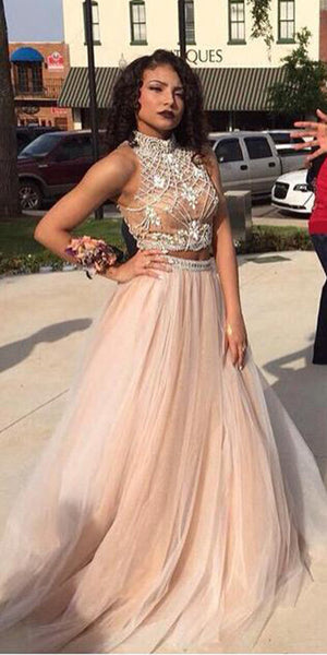 High Neck Beaded 2 Pieces Prom Dress 2019 Custom Made Sexy Open Back Graduation Party Dress Fashion Long School Dance Dress Tulle Beadings Pageant Dress for Girls PD628