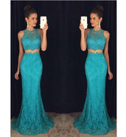 Fashion Lace Two Pieces Long Prom Dress Custom Made 2 Pieces Mermaid Evening Gowns PD281