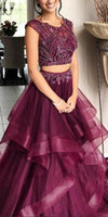 Grape 2 Pieces Beaded Prom Dress 2019 Custom Made Tulle Beadings Graduation Party Dress Fashion Long Two Pieces School Dance Dress PD489