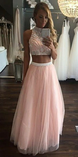 O-Neck Beaded Pink 2 Pieces Prom Dress Custom Made Tulle Beadings Graduation Party Dress Fashion Two Pieces School Dance Dress Pageant Dresses for Girls PD571