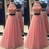 Halter 2 pieces Tulle Lace Prom Dress with Beades Custom Made Open Back Long Graduation Party Dress PD255