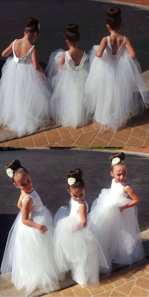 Cute V-Back Tulle Long Flowergirl Dress Fashion White Flower Girl Dresses FD005