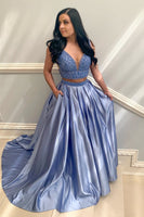 V-Neck Beaded 2 Pieces Long Prom Dress Custom Made Long Two Pieces Graduation Party Dresses Fashion Long Beadings School Dance Dresses PD753